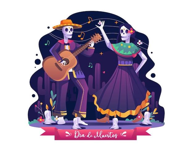 カップルは、音楽のイラストを踊ったり演奏したりして、死者の日ディアデロスムエルトスを祝います
