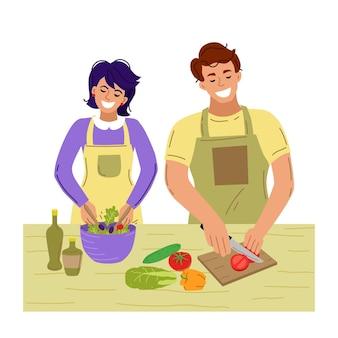부부는 함께 요리합니다. 집에서 요리. 벡터 일러스트 레이 션.