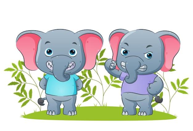 Пара слонов дает счастливую и сердитую иллюстрацию выражения лица