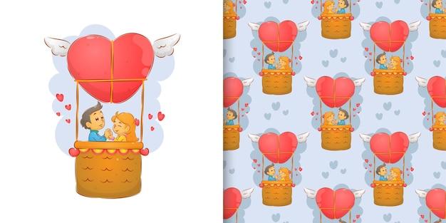 Пара празднует день святого валентина, летая на воздушных шарах
