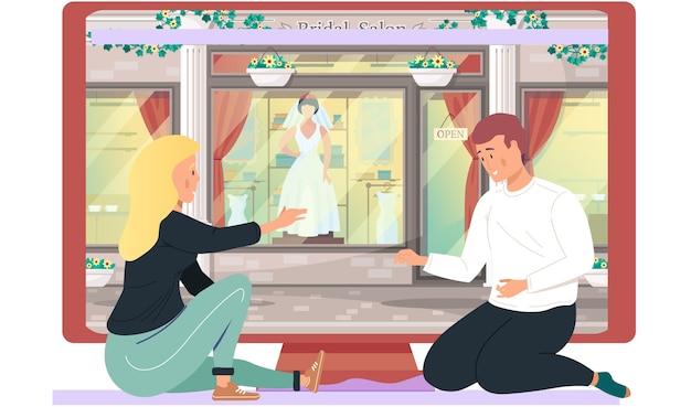 カップルは、将来の結婚式のイベントについて話し合い、計画しています。商品やお祝いの服の店。男と女がコンピューターの近くに座って話している。背景のブライダルブティック