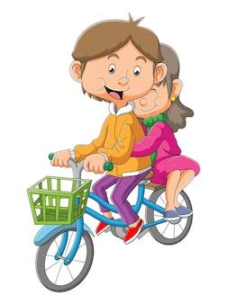 부부는 삽화의 함께 자전거를 타고 있다
