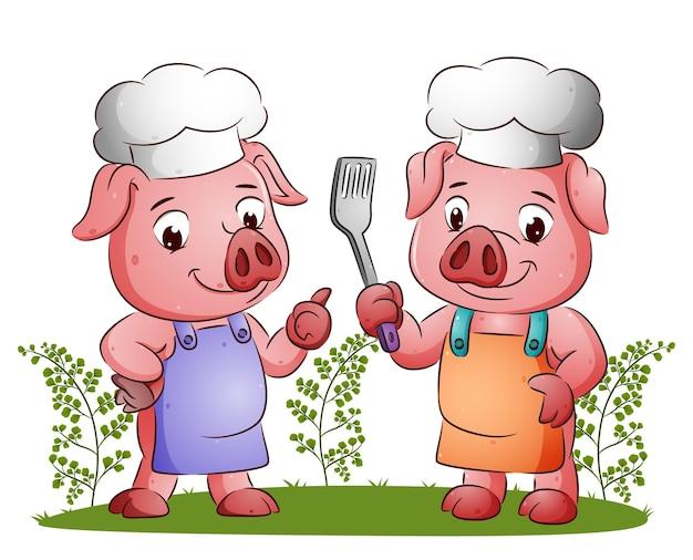요리사 돼지 부부가 주걱을 들고 일러스트의 행복한 표정을 짓고 있습니다.