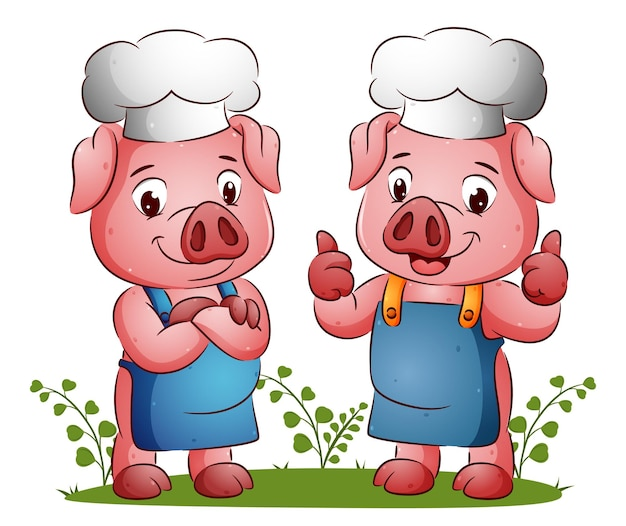 Пара счастливых свиней дает хорошее и вкусное выражение иллюстрации