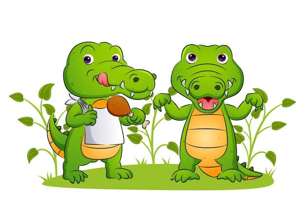 Пара крокодилов ест вкусную курицу во дворе иллюстрации