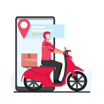 택배는 최고의 리뷰와 함께 핸드폰 화면 옆에 오토바이에 패키지를 가져옵니다.