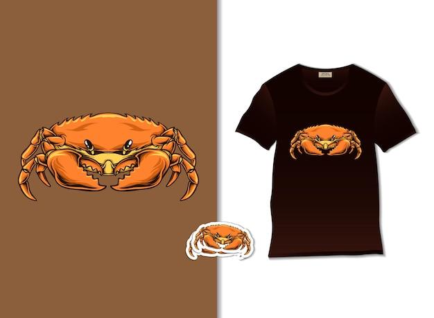 Иллюстрация краба с дизайном футболки