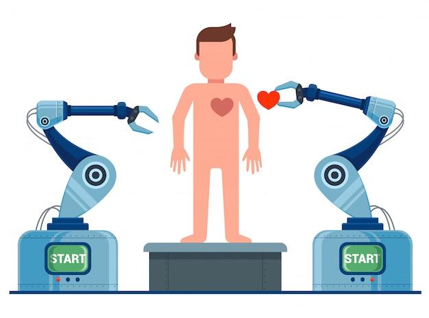 Создание человека на конвейере. робот оживляет человека. плоский характер иллюстрации.