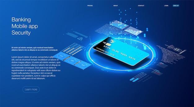 クレジットカードは等角です。マップの保護機能の概念。 webバナーに使用できます。安全な支払い、支払い保護の概念。ロック付きクレジットカード。ベクトルイラスト