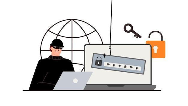 노트북, 컴퓨터 뒤에 범죄자입니다. 숨겨진 채굴. 피싱 알림. 계정 해킹. 사기꾼이 은행 카드를 훔칩니다. 네트워크 보안. 인터넷 피싱, 해킹된 사용자 이름 및 암호.