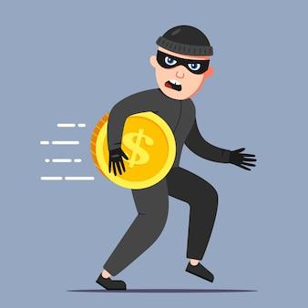 犯罪者は金貨を盗みました。犯罪現場から逃げます。フラットな文字ベクトルイラスト。