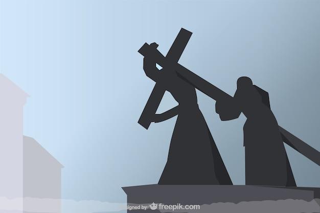 십자가에 못 박음 검은 실루엣