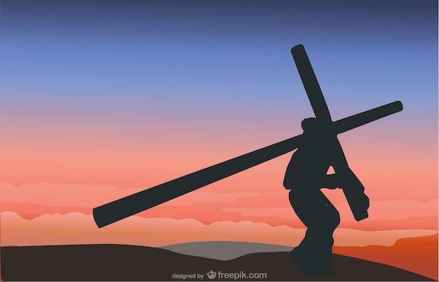 십자가 장면 벡터