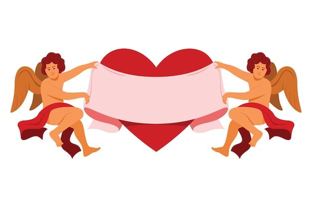 Купидон держит две стороны большой ленты и большого сердца для украшения валентина.