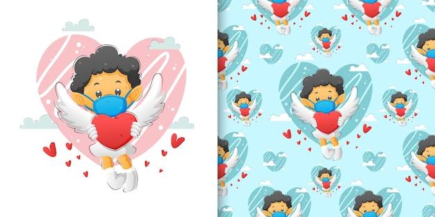 Купидон с крыльями и держит любовь в руке иллюстрации