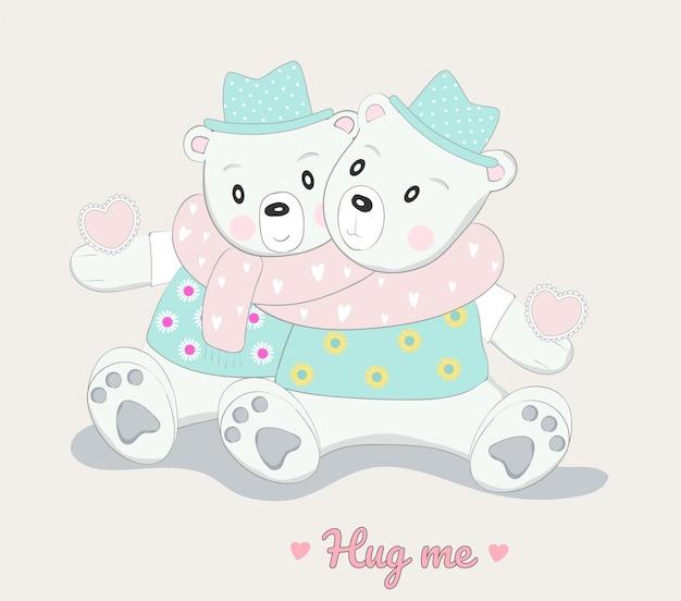 귀여운 아기 곰 캐릭터 동물 손으로 그린 만화 스타일