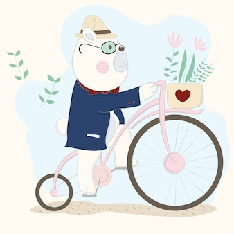 자전거에 귀여운 아기 곰