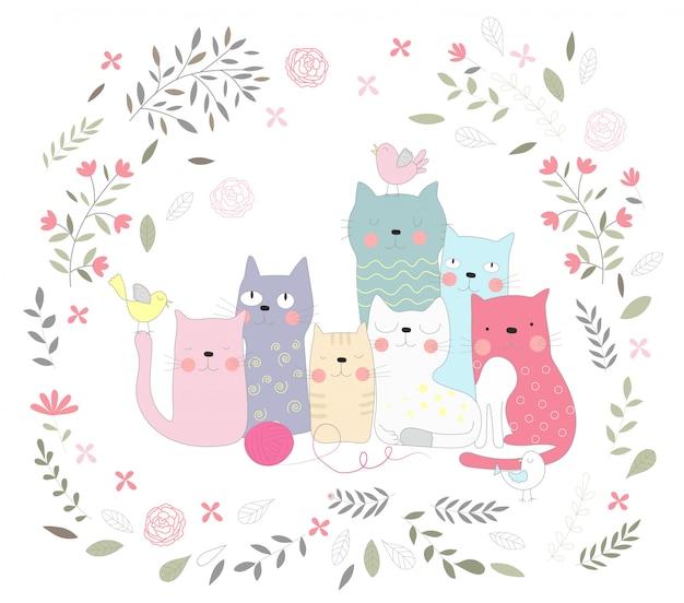 귀여운 아기 고양이와 꽃