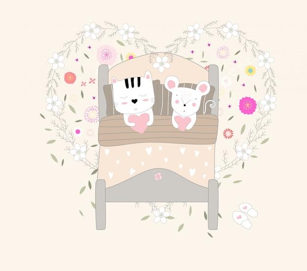 귀여운 아기 고양이와 쥐 동물 만화 손으로 그린 스타일