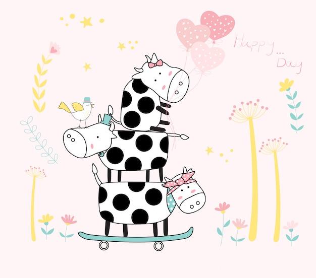 スケートボード付きのかわいい赤ちゃんの牛