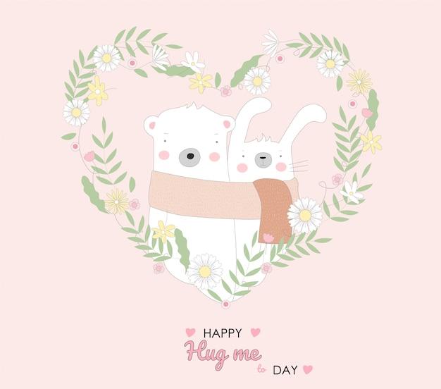 귀여운 아기 토끼와 곰 캐릭터 동물 만화 손으로 그린 스타일