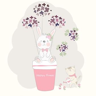 고양이와 귀여운 아기 토끼와 꽃