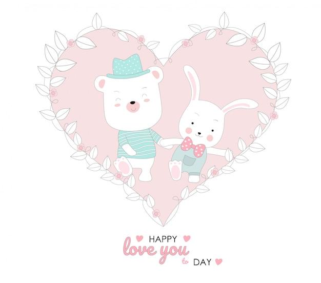 귀여운 아기 토끼와 돼지 캐릭터 동물 만화 손으로 그린 스타일
