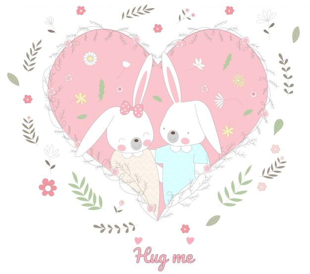 귀여운 아기 토끼 캐릭터 동물 만화