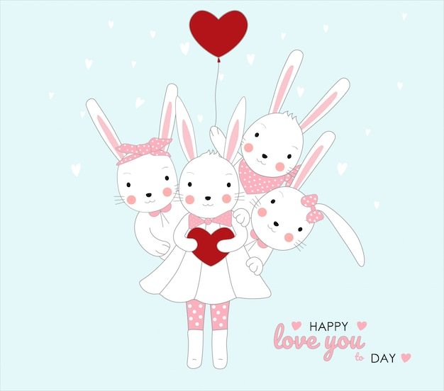 붉은 마음을 잡고 귀여운 아기 토끼입니다. 동물 만화 손으로 그린 스타일