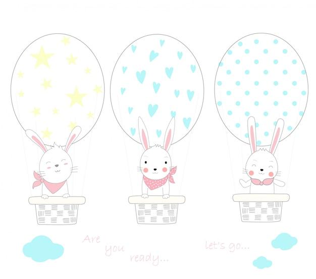 계란 모양 풍선 공기를 가진 귀여운 아기 토끼