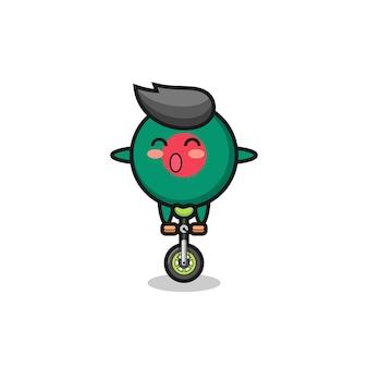 かわいいバングラデシュの旗のバッジのキャラクターは、サーカスの自転車に乗っています、tシャツ、ステッカー、ロゴ要素のかわいいスタイルのデザイン