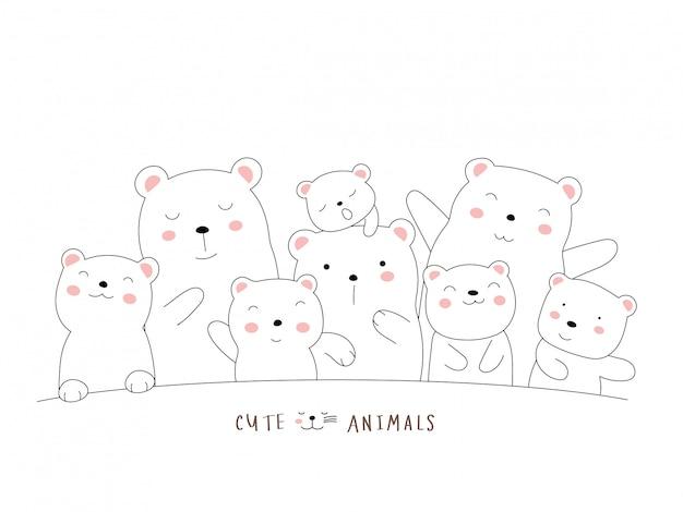 かわいいクマの動物漫画。手描きスタイル