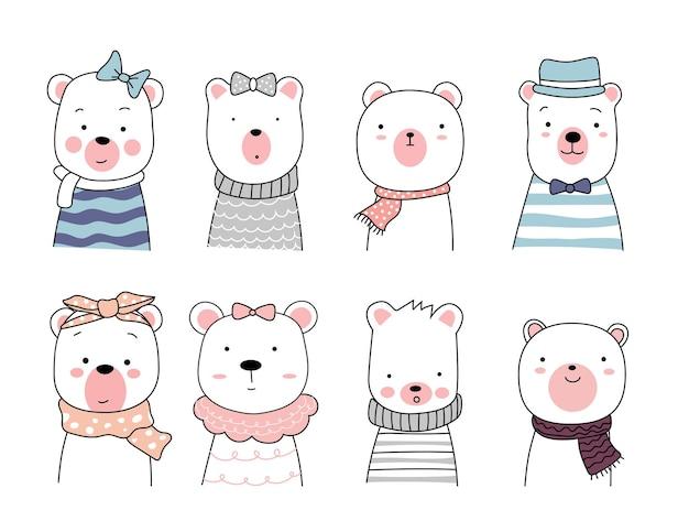 かわいいクマの動物の漫画。手描きスタイル