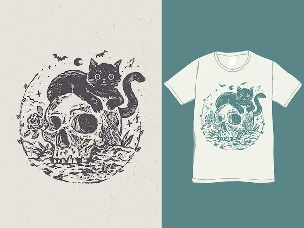 Дизайн футболки с милым черным котом и черепом на хэллоуин