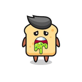 Симпатичный хлебный персонаж с блевотиной, милый стильный дизайн для футболки, стикер, элемент логотипа