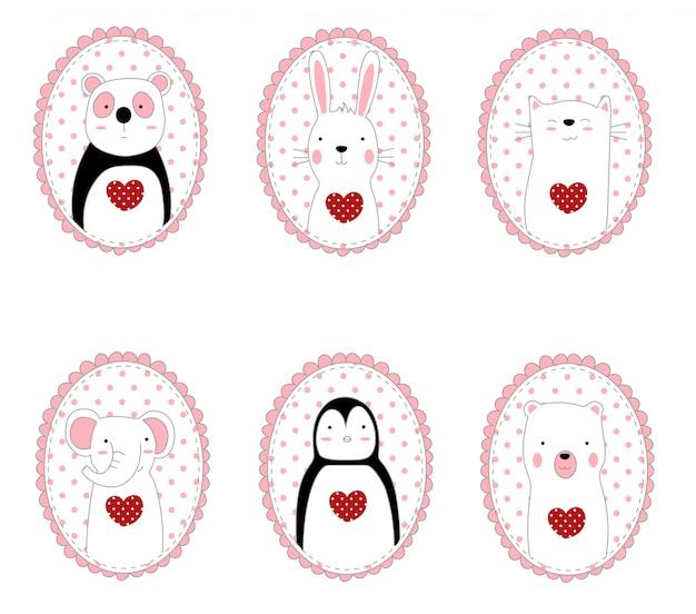 귀여운 캐릭터 동물 만화 손으로 그린 스타일