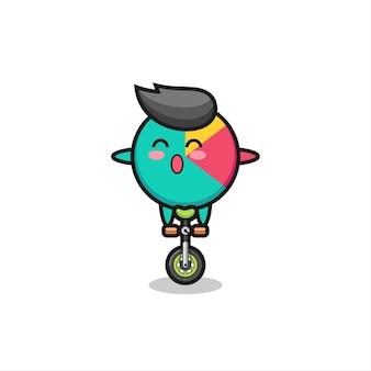 귀여운 차트 캐릭터가 서커스 자전거를 타고 있고, 티셔츠, 스티커, 로고 요소를 위한 귀여운 스타일 디자인
