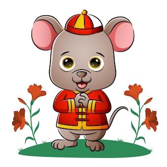귀여운 중국 쥐가 삽화의 인사를 하고 있다 프리미엄 벡터