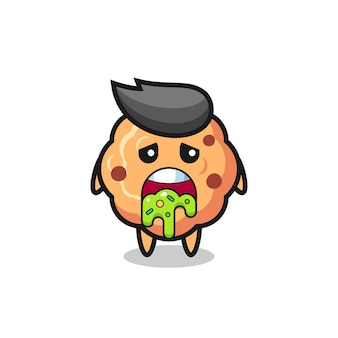 Симпатичный персонаж печенья с шоколадной крошкой и блевотиной, милый стиль дизайна для футболки, наклейки, элемента логотипа