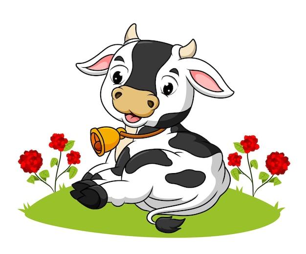 귀여운 소가 삽화의 풀밭에 누워 있다