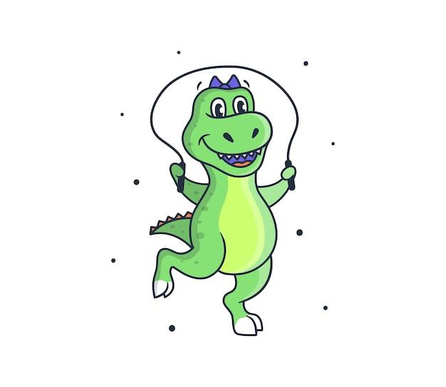 かわいい恐竜の女の子は運動をします。ロープでジャンプする漫画風のスポーツ恐竜。