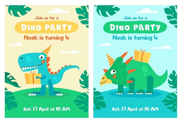 ラブテキスト付きのかわいい恐竜キッズパーティーの招待状