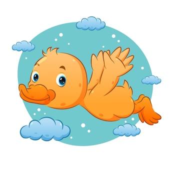Милая утка яркого цвета летит по небу с облачным орнаментом иллюстрации
