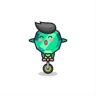 かわいいエメラルドジェムストーンのキャラクターがサーカスバイクに乗っている、tシャツ、ステッカー、ロゴ要素のかわいいスタイルのデザイン