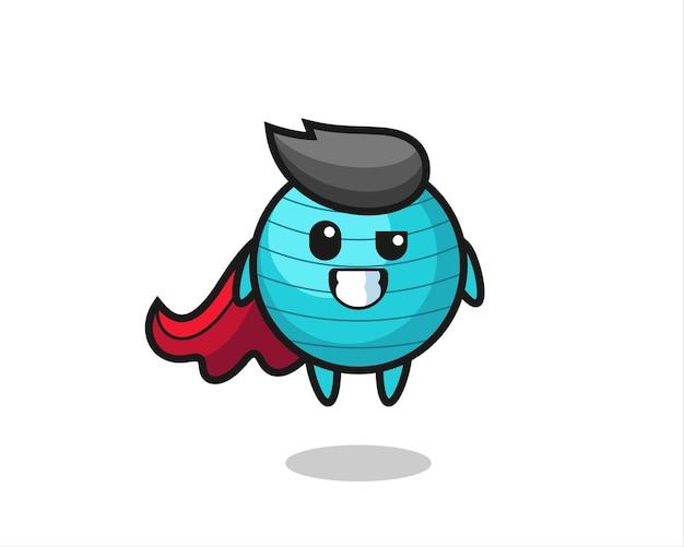 Симпатичный персонаж с мячом для упражнений в виде летающего супергероя, милый стиль дизайна для футболки, наклейки, элемента логотипа