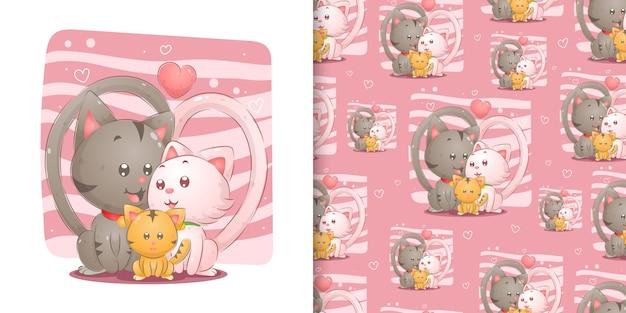 イラストのピンクの背景をシームレスに娘との愛に満ちたかわいい家族の猫