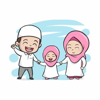 かわいい幸せなイスラム教徒の家族のイラスト