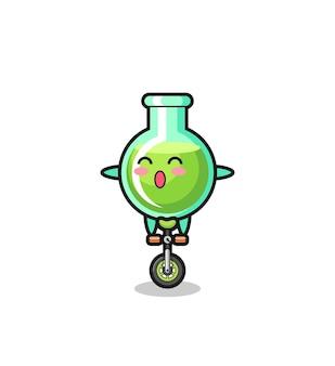 귀여운 실험실 비커 캐릭터가 서커스 자전거를 타고 있고, 티셔츠, 스티커, 로고 요소를 위한 귀여운 스타일 디자인