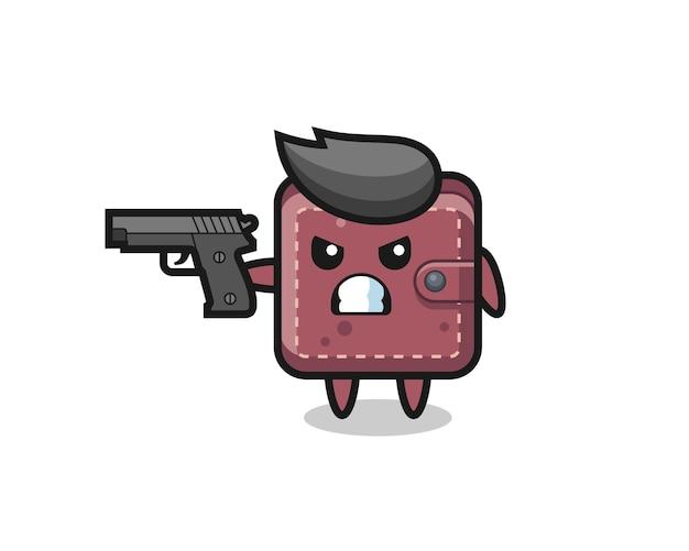 銃で撃つかわいい革の財布のキャラクター、tシャツ、ステッカー、ロゴ要素のかわいいスタイルのデザイン