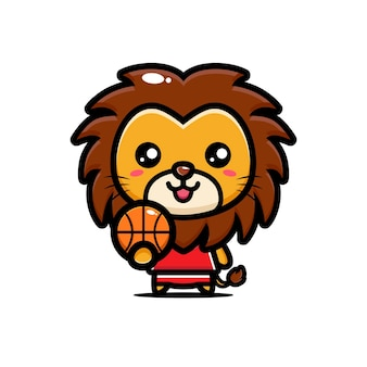 귀여운 사자가 농구를 할 준비가되었습니다.